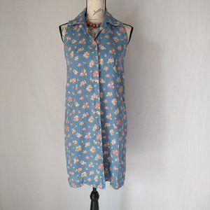 Vintage MATCH Linen Floral Shirt Dress Sleeveless